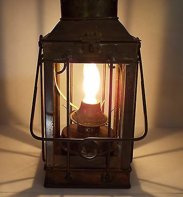 Vintage Viking Hanging Brass Nautical Ship Maritime Oil Lamp Lantern Electric