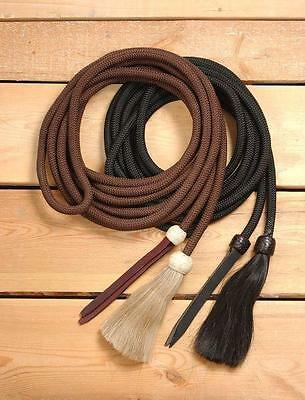 """Braided Nylon Cord Mecate Bosal Reins With 5/8"""" X 22' Black New Horse Tack"""