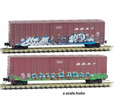 Micro-Trains MTL Z Scale 51144191 BNSF 50' Box Cars 2-Pack Weathered NEW $0 SHIP