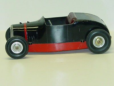 Vintage All American Hot Rod Tether Car Racer, Toy Vehicle, Black / Red