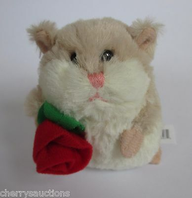 a Tan LIL HAMSTER Rose Plush Ganz hv9171 I love You I'm sorry Valentines day