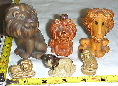 6 Small Ceramic LION Figurines - 3 Wades-3 UnBranded - No Defects- TAKE-a-LOOK !