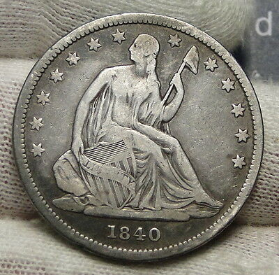 1840 Seated Liberty Half Dollar 50 Cents. Nice Coin Free Shipping (4022)