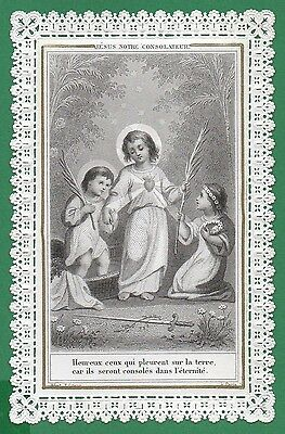 SACRED HEART OF CHILD JESUS & CHILDREN Antique 19th 1891 LACE HOLY CARD
