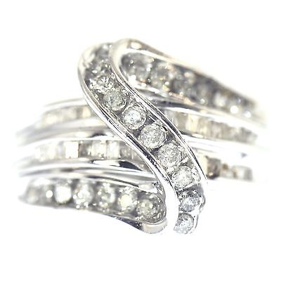1.50 Ct Round & Baguette Cut Diamond Ring White Gold Natural Bridge Size 7