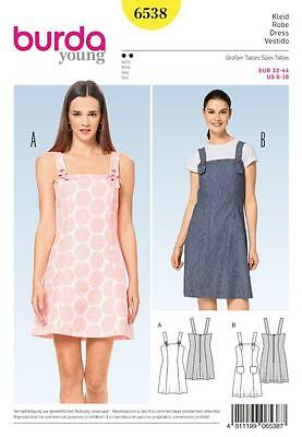 Burda Sewing Pattern Misses'  Dungaree Dress Patch Pockets 6 - 18 6538