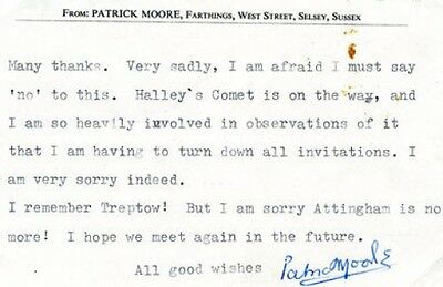 Autograph Signed Letter by English Astronomer / Writer PATRICK MOORE UACC DEALER