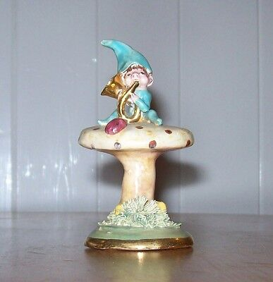 Vintage Babbacombe? Pottery,Elf/Pixie Playing his Tuba,Made & Painted in England