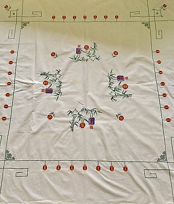 """Beautiful 49"""" X 53"""" (Approx )Cross Stitch Vintage Table Cloth"""