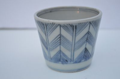 Antique Japanese Hand Made Blue And White Porcelain Tea Cup 1860 アンティーク マタニカップ