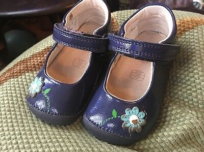 Clarks Blue Baby Girls Shoes, Size 3.5f Flowers, Cruiser