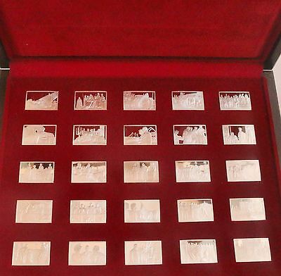 Silver Ingot Set of 25 Elizabeth Our Queen John Pinches Cased COA and Booklet