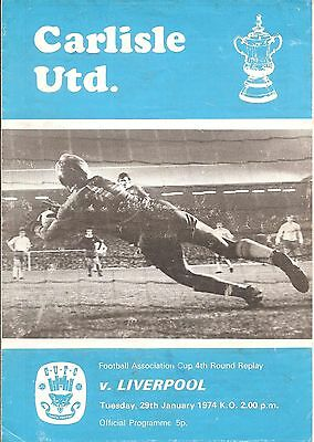 CARLISLE UNITED v LIVERPOOL Fa Cup 4th Round Replay 29th January 1974