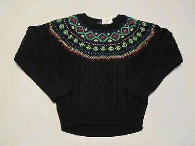 NWT girl's size 4/4T POLO RALPH LAUREN black cable knit cotton sweater