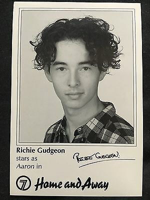 RICHIE GUDGEON *Aaron* HOME AND AWAY Pre-Signed Vintage 90s Cast Fan Card RARE