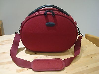 Ladies Red Vanity Case Cabin Travel Bag with Shoulder Strap Hand Luggage VGC