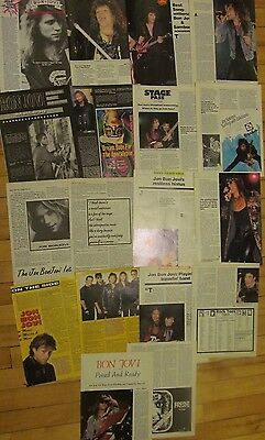 Bon Jovi, Lot of TEN Full and Two Page Vintage Clippings