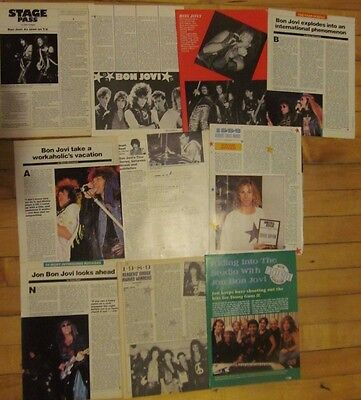 Bon Jovi, Lot of TEN Full Page Vintage Clippings