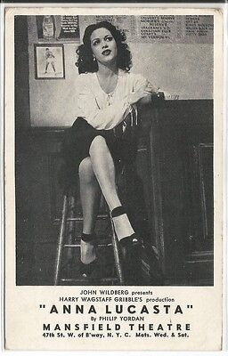 """3. Advertising Postcard for Stage Play """"Anna Lucasta"""" at Mansfield Theatre, NYC"""