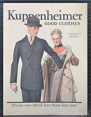 1921 Kuppenheimer Good Clothes J C Leyendecker Art Investment in Appearance Ad