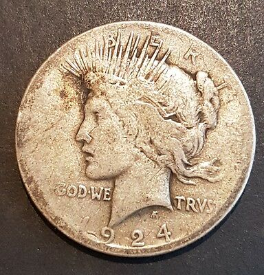Usa, United States, Peace Dollar $1, 1924 Silver Coin