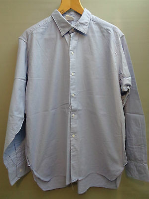 Vtg 60s pale blue cotton simple work chore army shirt