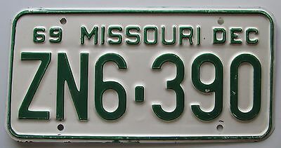 Missouri 1969 SINGLE PLATE YEAR License Plate HIGH QUALITY # ZN6-390