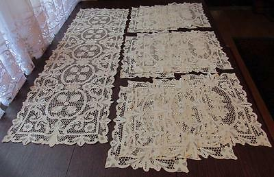 Rare Italian Table Runner & Placemat Set 13 Pc Antique Lace Hand Embroidery Nice