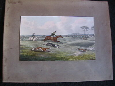 ANTIQUE 19th VICTORIAN UN-FRAMED SPORTING PRINT 'HARE COURSING' COLOUR c.1850