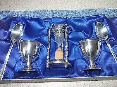 Silver plated egg cups, spoons & Timer set