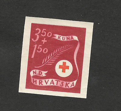Wwii-Croatia-Ndh-Mnh** Imperforated Stamp-Error-Red Cross-Rare-1944.