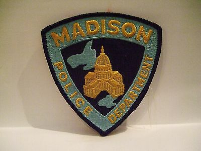 police patch   MADISON POLICE WISCONSIN  BLACK BORDER
