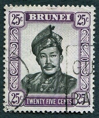 BRUNEI 1952-8 25c black and purple SG109 used NG Sultan Saifuddin a #W11