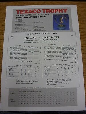 27/05/1991 Cricket Scorecard: England v West Indies [At Lords] (Written Results)