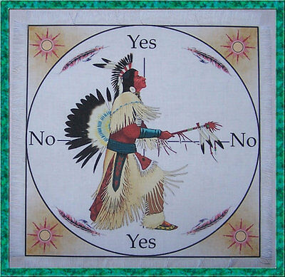 Native American Warrior Scrying Mat for use with a pendulum Wicca divination