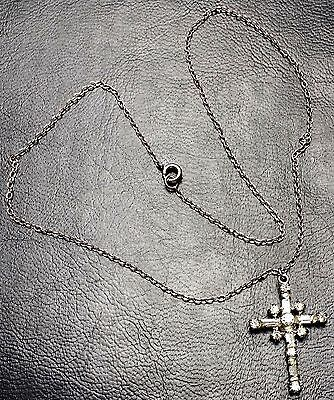 """Vintage JAY FLEX Sterling Silver Cross + 15"""" Chain with Baguette Crystals, 2.33g"""