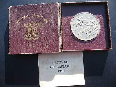 """George VI """"Festival of Britain"""" Crown 1951 in a Red case of issue."""