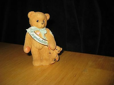 Cherished Teddies 1997 This Calls For A Celebration Congrats Baby Bear Figurine