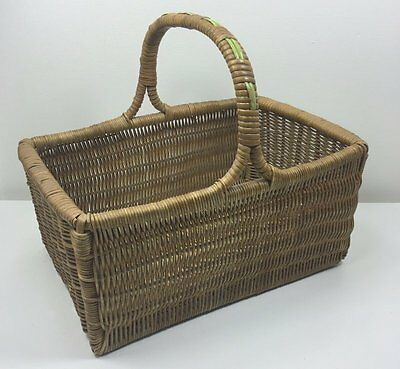Vintage Wicker Cane Shopping Basket With Lime Green Trim On Handle - Vg Cond.