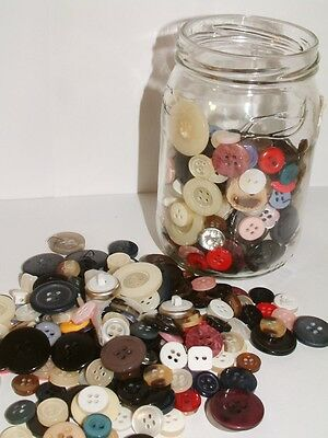 Jar of Assorted Vintage Buttons Multi-Coloured Various Colours / Styles / Ages