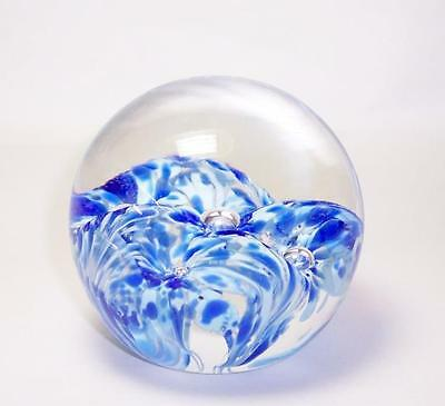 "Vintage 1977 LISKEARD Glass PAPERWEIGHT Cornwall - Blue & White  - 3"" High"