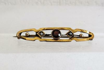 Antique Victorian 9ct Gold Seed Pearl & Red Stone Brooch