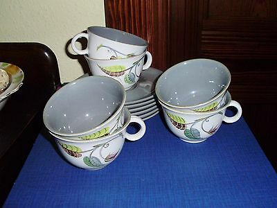 6 X Denby Stoneware Cups And Saucers Spring Pattern Signed