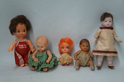 Vintage Lot of 5 Dolls, Antique Schildkrot Baby Doll, Dolly Cola, Miniatures