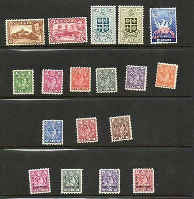 (A706) St Lucia  George Vi Mnh  Small Selection 18 Stamps