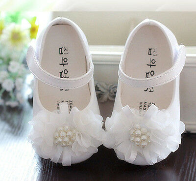 New Baby Girls White Christening Party Shoes 9-12 Months