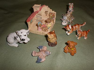 Collection of 8 ceramic ornaments: cats, dog, owl, bears in house, inc Wade bird