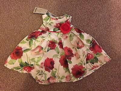 Gorgeous Baby Girl Monsoon Floral Dress Red 3-6 Months BNWT