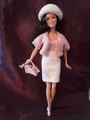 Hand knitted Barbie dress with matching jacket, bag, hat & coordinating shoes