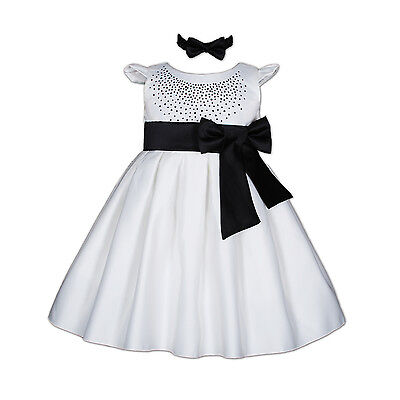 New White and Black Satin Christening Party Dress with Headband 3-6 Months